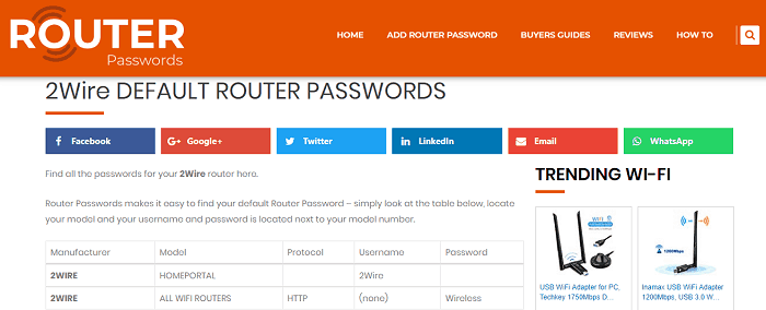 Router Passwords