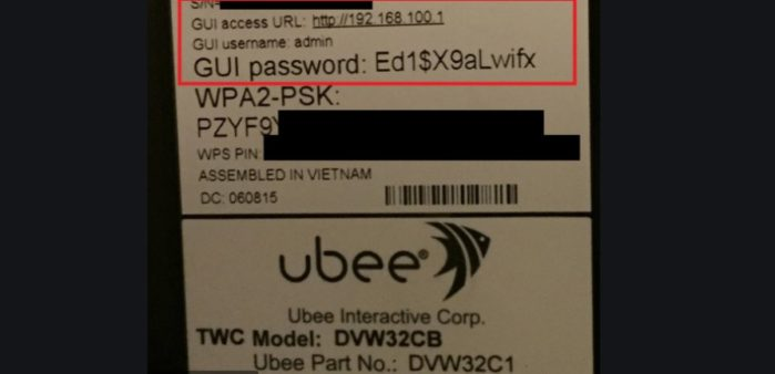 Ubee Gui username and password on router label