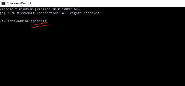 type cmd on start search bar and ipconfig