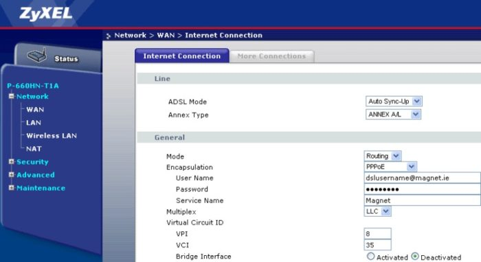 router credentials on ZyXel website