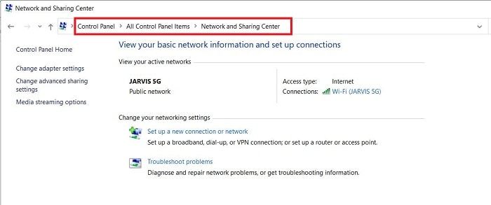 Open the Network and Sharing Center